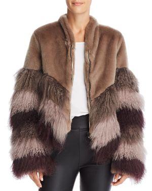 URBANCODE Color-Blocked Fur Coat in Praline