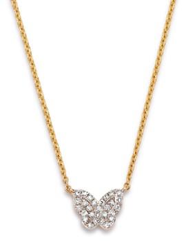 "KC Designs - 14K Yellow Gold Mini Butterfly Diamond Pendant Necklace, 18"""