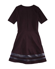 AQUA - Girls' Textured Stretch Dress with Faux-Leather Trim, Big Kid - 100% Exclusive
