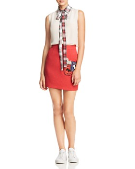 Boutique Moschino - Plaid Collar & Tie-Neck Top