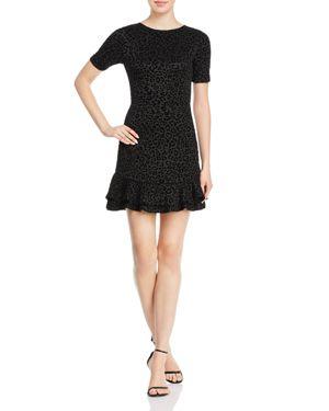 Aqua Leopard-Flocked Flounce Dress - 10% Exclusive