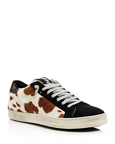 P448 - Women's John Fur & Leather Lace-Up Sneakers