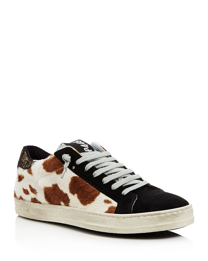 P448 WOMEN'S JOHN FUR & LEATHER LACE-UP SNEAKERS