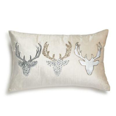 "Embellished Velvet Reindeer Pillow, 12"" X 20""   100 Percents Exclusive by Bloomingdale's"