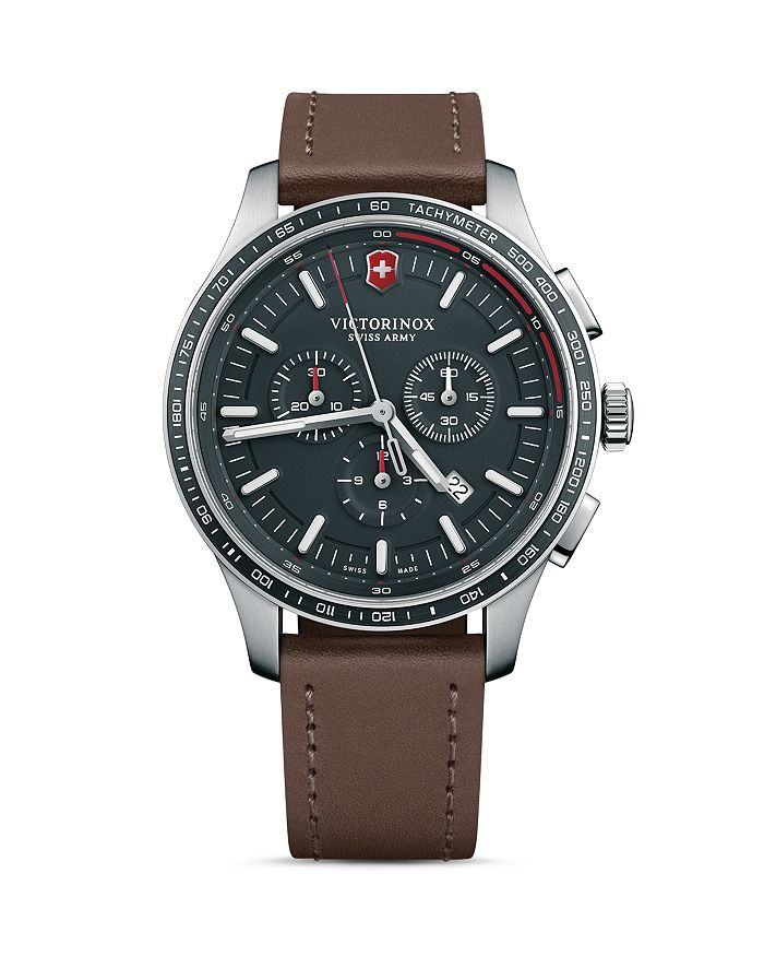 Victorinox Swiss Army Alliance Sport Brown Leather Strap Chronograph, 44mm In Black/brown