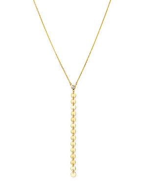 Moon & Meadow 14K Yellow Gold Bezel-Set Diamond Y Drop Necklace, 18 - 100% Exclusive