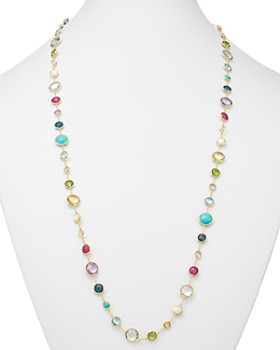 IPPOLITA - 18K Yellow Gold Lollipop Lollitini Mother of Pearl, Green Gold Citrine, Peridot, Green Agate, Blue Topaz, Turquoise, London Blue Topaz, Amethyst & Pink Tourmaline Long Necklace, 36""