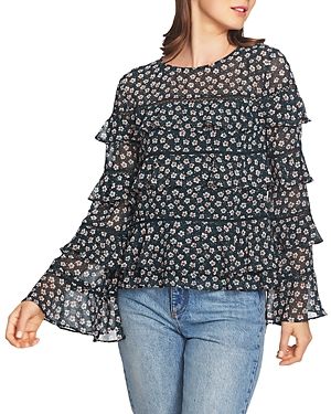 1.state Floral-Print Tiered Ruffle Top