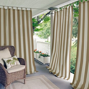 "Elrene Home Fashions - Highland Stripe Indoor/Outdoor Curtain Panel, 50"" x 95"""