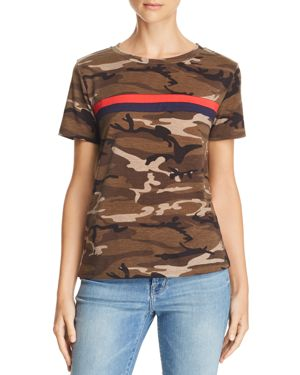 HONEY PUNCH Camo Chest-Stripe Tee