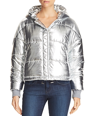 Splendid Metallic Hooded Puffer Jacket