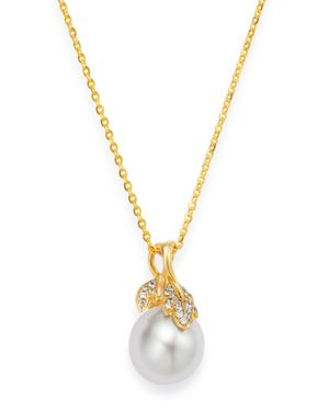 TARA PEARLS 14K Yellow Gold Diamond & White South Sea Cultured Pearl Pendant Necklace, 18 in White/Gold