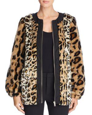 Donna Karan New York Leopard Print Faux Fur Coat