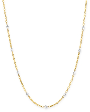 AeroDiamonds 18K Yellow Gold Orbit Diamond Nine Stone Station Necklace, 18