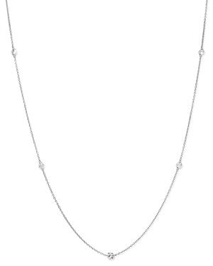 AeroDiamonds 18K White Gold Orbit Diamond Five Stone Station Necklace, 18
