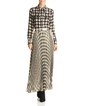 Alice and Olivia - Katz Metallic Gingham Pleated Maxi Skirt