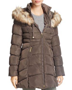 Laundry by Shelli Segal Faux Fur Trim Short Puffer Coat