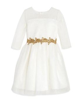 US Angels - Girls' Metallic-Glitter-Dotted Dress - Little Kid