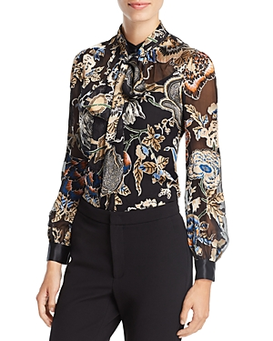 Tory Burch Tie-Neck Printed Blouse