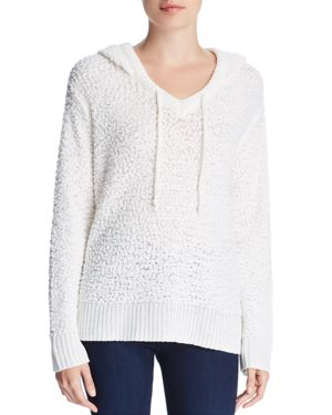 ALISON ANDREWS High/Low Hooded Sweater in Marshmellow