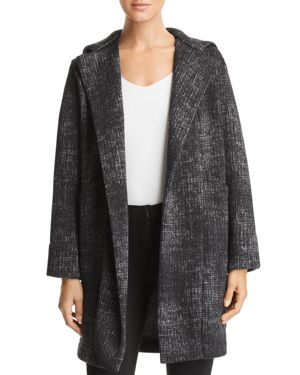 CAPOTE Fleece Hooded Open-Front Jacket in Black