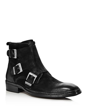 KARL LAGERFELD Paris - Men's Buckled Leather Ankle Boots