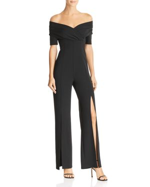 GUESS Juda Off-The-Shoulder Split-Leg Jumpsuit in Jet Black