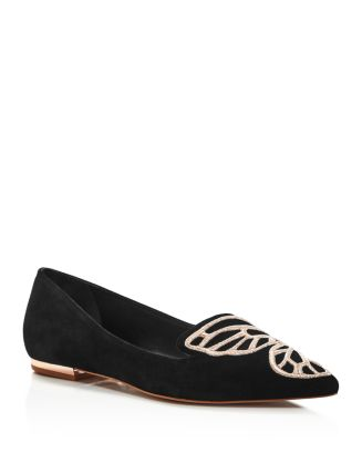 Women's Papillon Pointed Toe Suede Flats by Sophia Webster