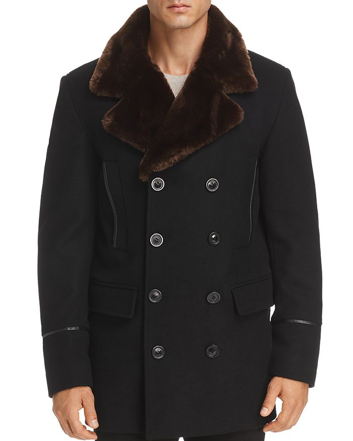 KARL LAGERFELD Paris - Faux Fur-Trimmed Double-Breasted Peacoat