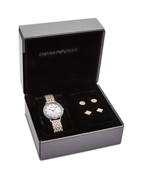 Armani - Stud Earrings & Two-Tone Watch Gift Set, 32mm