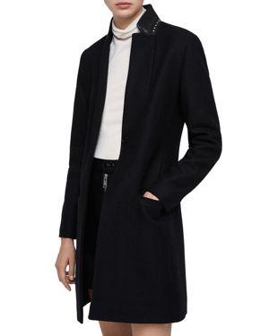 Leni Stud Trim Leather Collar Coat, Black