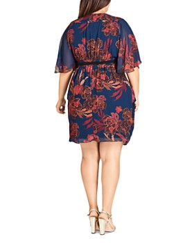 City Chic Plus - Fire-Bloom Belted Dress
