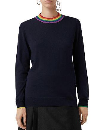 Burberry - Dales Wool Rainbow-Collar Sweater