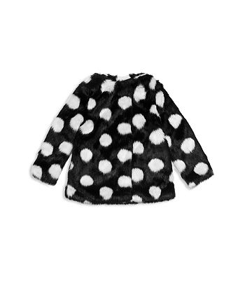 b279e38ecc55 kate spade new york Girls' Polka Dot Faux-Fur Coat - Little Kid ...