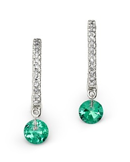 Meira T - 14K White Gold Emerald and Diamond Drop Hoop Earrings