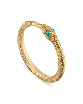 Gucci - 18K Yellow Gold & Turquoise Ouroboros Snake Ring