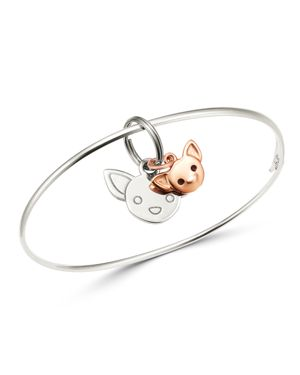 DODO Sterling Silver Chihuahua Charm Bangle Bracelet in Rose Gold/Silver