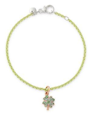 DODO Sterling Silver Four-Leaf Clover Charm Tzavorite Pave Bangle Bracelet in Green/Multi