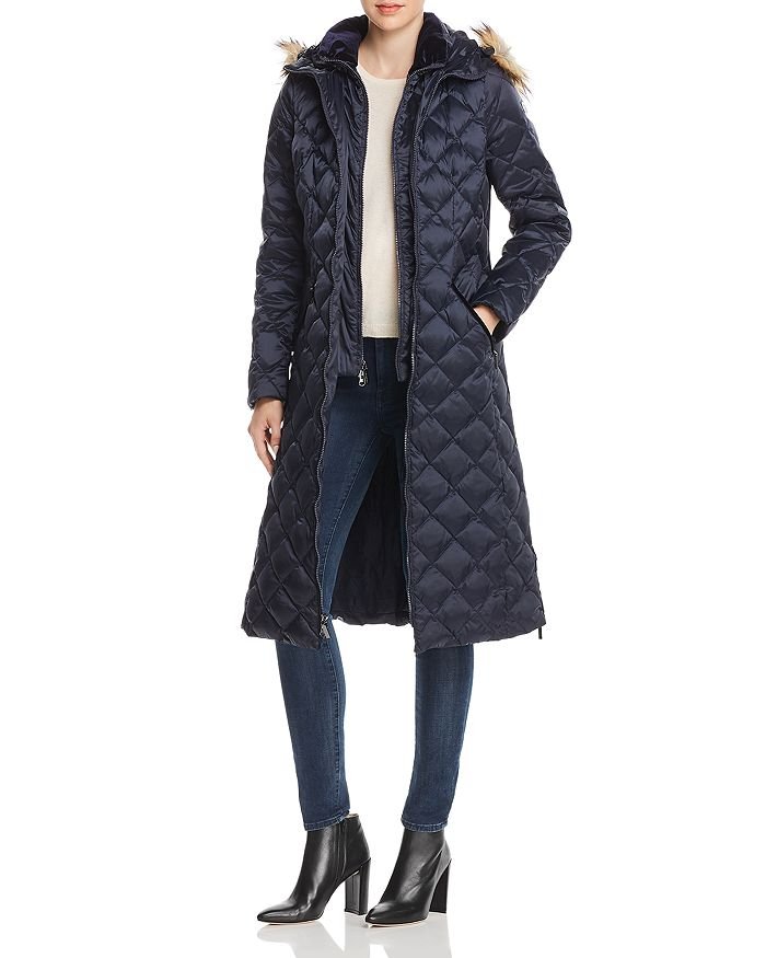 Laundry By Shelli Segal LAUNDRY BY SHELLI SEGAL DIAMOND-QUILTED MAXI PUFFER COAT