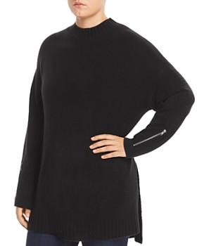 One A Plus - Zip-Cuff Tunic Sweater