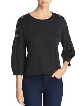 Coin - Grommet-Trimmed French Terry Top