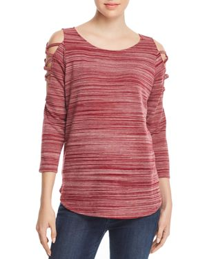 STATUS BY CHENAULT Status By Chenault Space-Dyed Strappy Cutout Top in Bordeaux
