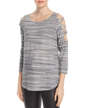 STATUS BY CHENAULT Status By Chenault Space-Dyed Strappy Cutout Top in Heather Gray