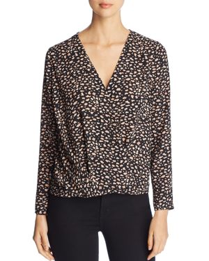 FINN & GRACE Long-Sleeve Faux Wrap-Front Top in Black Print