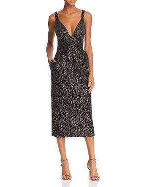 Velvet & Sequin Embellished Midi Dress, Black/Gold