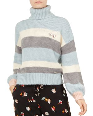 Colour By Numbers Moliea Striped Turtleneck Sweater, Grey