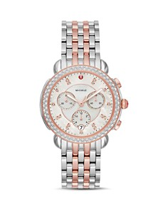 MICHELE - Sidney Mother-of-Pearl & Diamond Chronograph Watch Head, 38mm