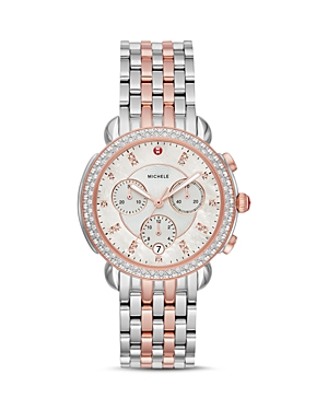 Michele SIDNEY MOTHER-OF-PEARL & DIAMOND CHRONOGRAPH WATCH HEAD, 38MM