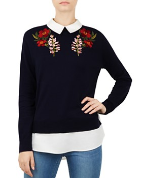 Ted Baker - Toriey Layered-Look Embroidered Sweater
