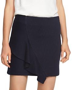1.STATE - Pinstripe Ruffle Front Mini Skirt